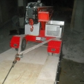 G70 fume free compact crane going down a ramp to work in a basement