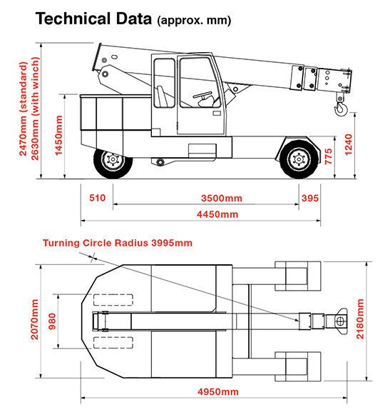 Dimensions of the G150 Pick & Carry Crane