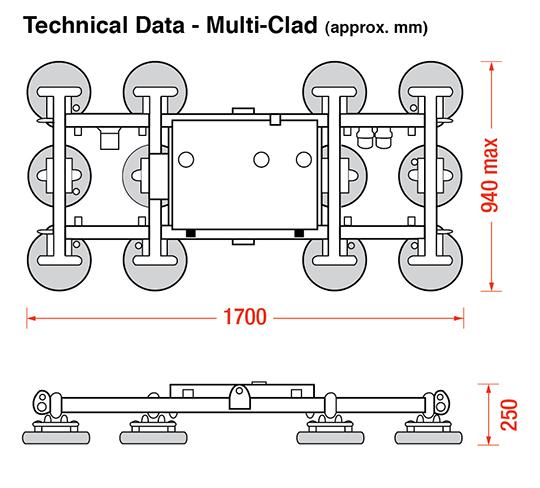 Multi-Clad vac lifter dimensions