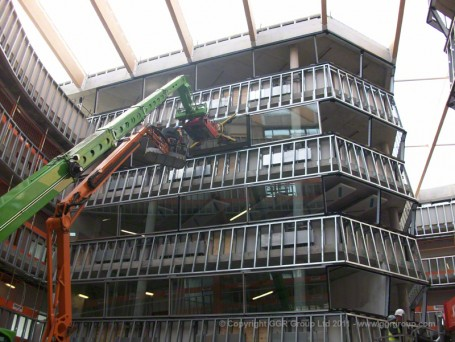 GGR's Homer Installation Robot working on Athletes' Village Chobham Academy atrium,