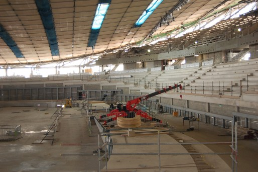 Unic 376 Mini crane working on Olympic Velodrome track