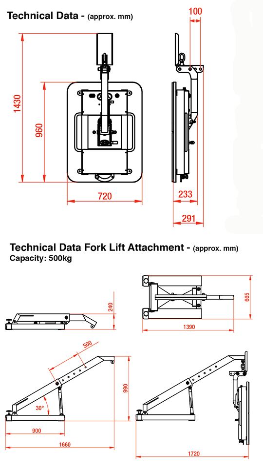 Mini-Clad & Foldable Fork Lift Dimensions