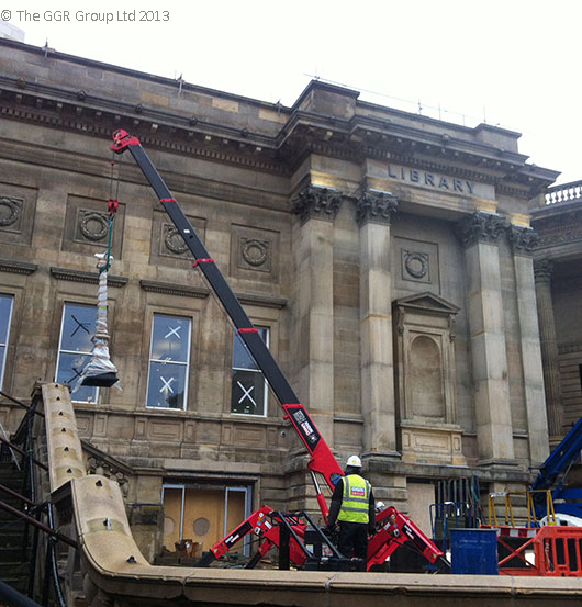 Refurbished lamp post installation at Liverpool Museum
