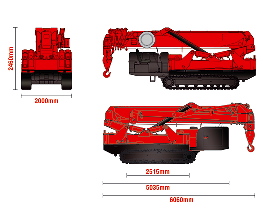 Dimensions for the URW-1006 mini spider crane