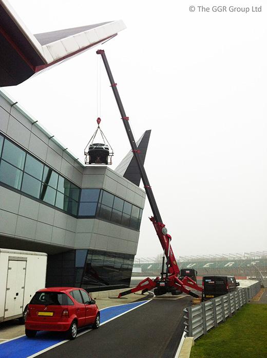 10 tonne UNIC mini crane at Silverstone