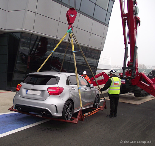 mighty mini crane makes a pit stop at silverstone. Black Bedroom Furniture Sets. Home Design Ideas