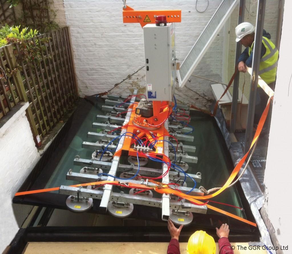 London basement extension floor glass installation