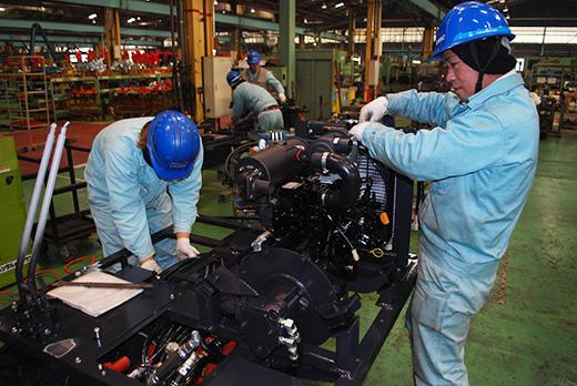 The production line at the Furukawa Unic manufacturing plant