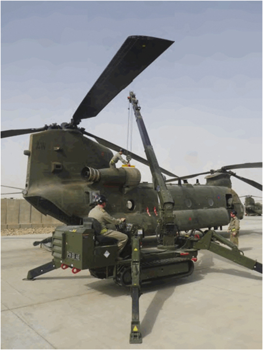 Heavy lift: the spider in action at Camp Bastion, image courtesy of Desider magazine