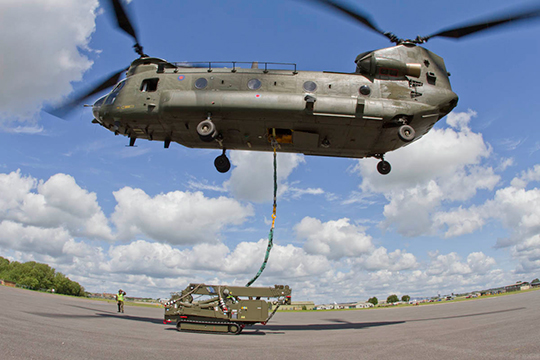 UNIC mini crane and Chinook helicopter