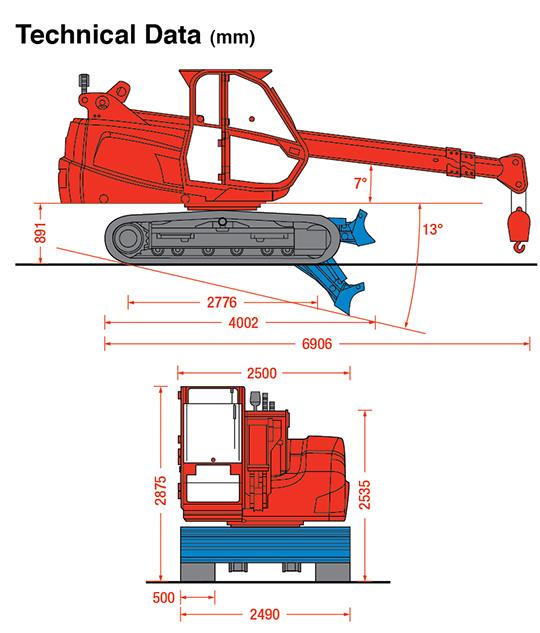 MCC805 crawler crane dimensions