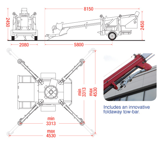 The dimensions of the Starworker 1000 Trailer Crane