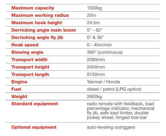 Starworker 100 trailer crane technical table