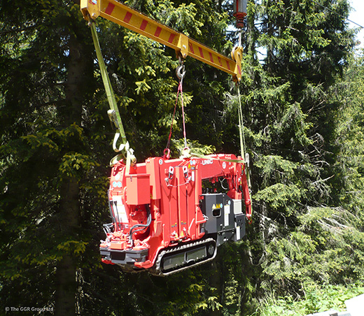 UNIC URW-094 being transported by zip wire