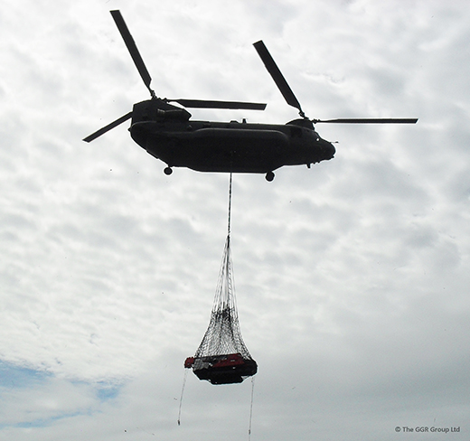 UNIC URW-547 carried by Chinook helicopter