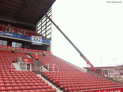 UNIC mini crane glazing at Stoke City FC ground