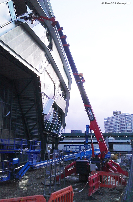 UNIC URW-706 mini crane glazing at Leeds arena