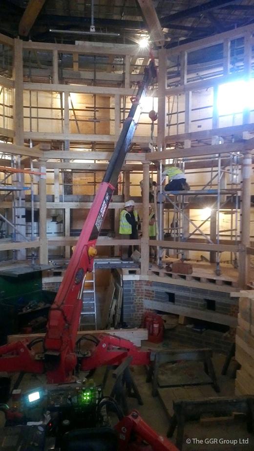 UNIC mini crane creating new Jacobean style indoor theatre