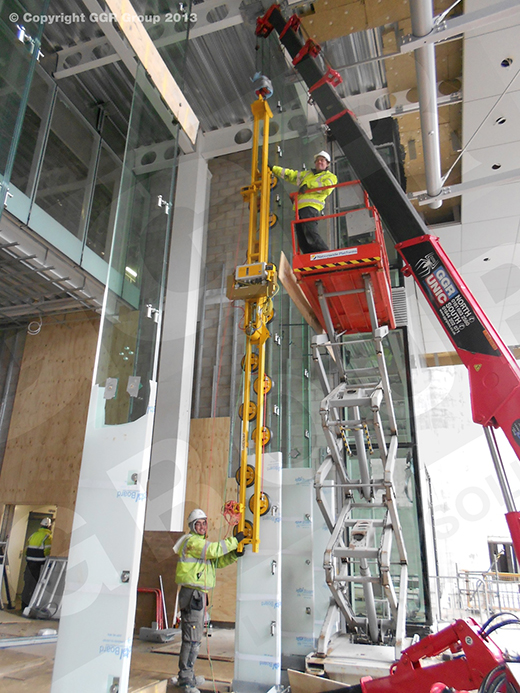 Installing glass fins at One Snow Hill, Birmingham