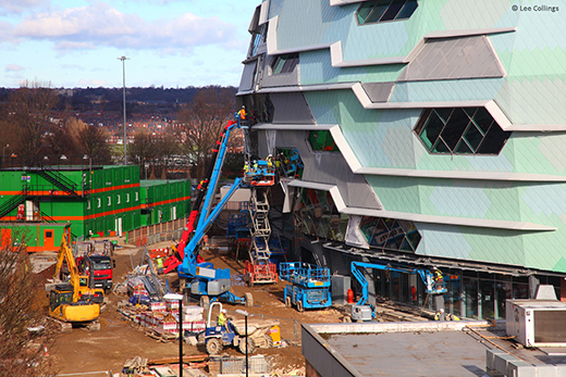 UNIC mini spider crane at Leeds arena site