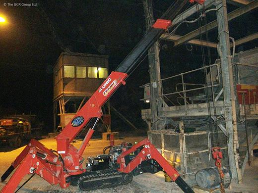 UNIC mini crane in salt mine