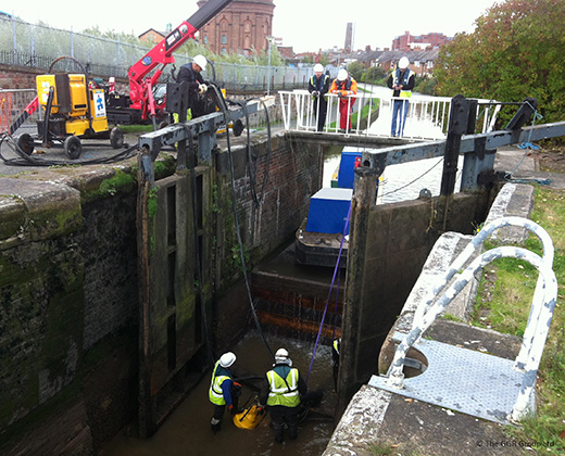 Lock inspection on Chester canal with UNIC spider crane