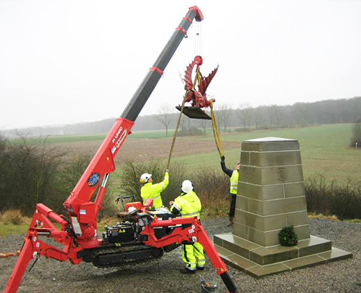 UNIC mini crane at Mametz Wood Memorial