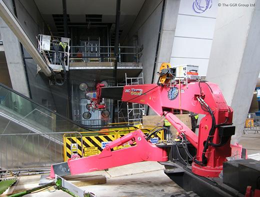UNIC mini crane installing glazing inside new music venue