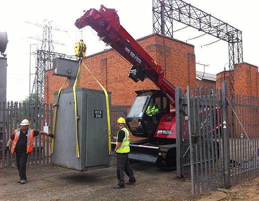 8 tonne capacity MCC805 lifting transformer through gate