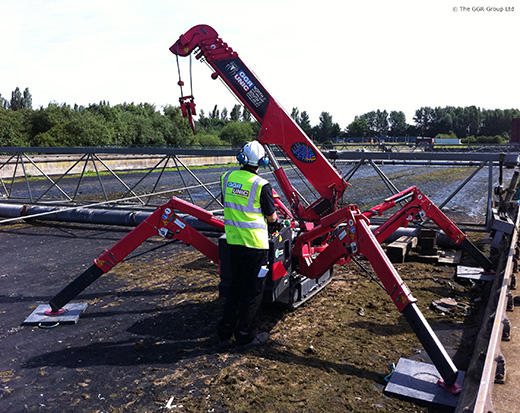 UNIC mini crane at Eccles Wastewater Treatment Plant