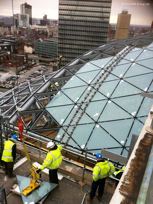 Fitting glazing onto Co Op Headquarters roof