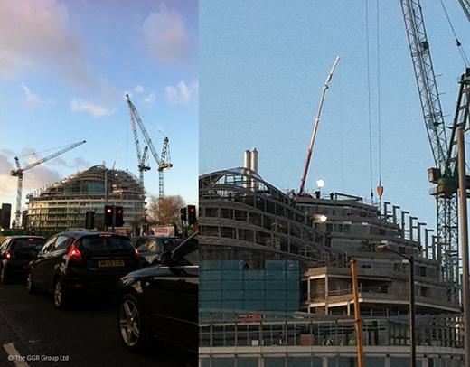 GGR Starworker 1200 trailer crane working on Manchester rooftop
