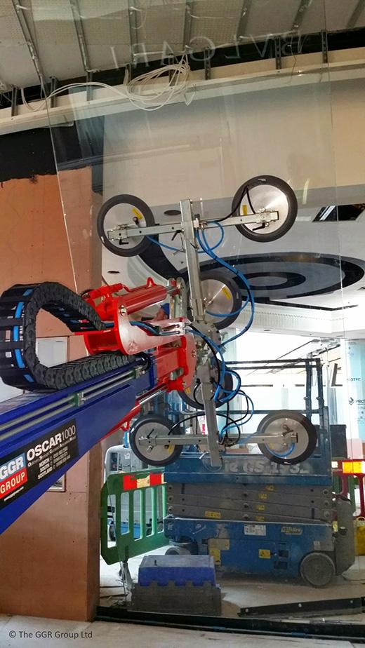 Oscar robot installing glazing at Harrods in Terminal 2