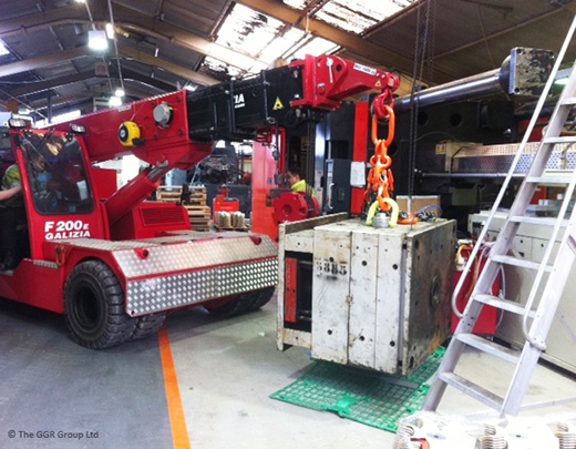 Pick and carry crane working at Chess Plastics