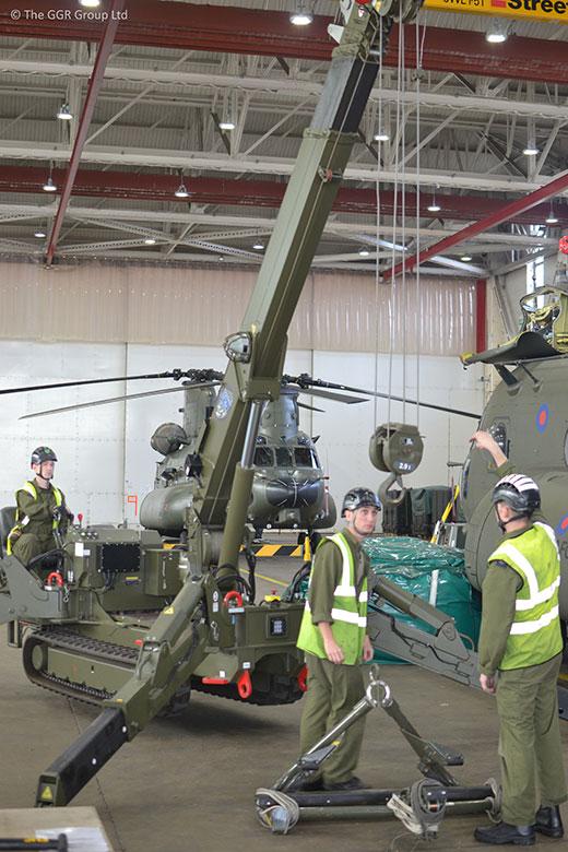GGR testing mini crane skills at RAF Odiham