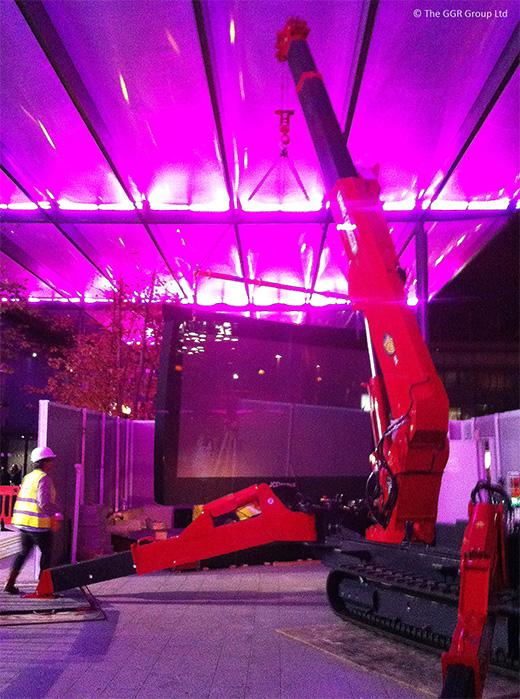 Lifting digital screen at Heathrow airport