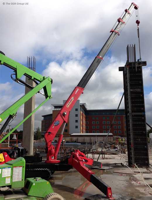 UNIC URW-506 crane lifts shuttering at Birmingham NEC