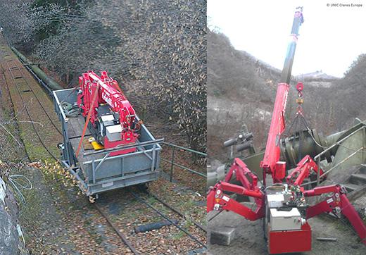UNIC URW-095 mini crane at hydroelectric plant in Italy