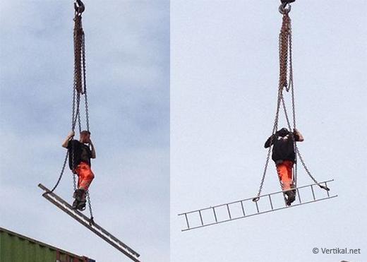 Riding the crane hook