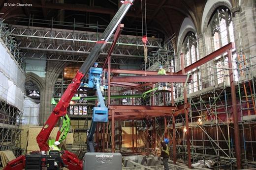 UNIC mini crane working at All Souls Church