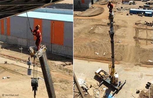 Riding on the crane boom