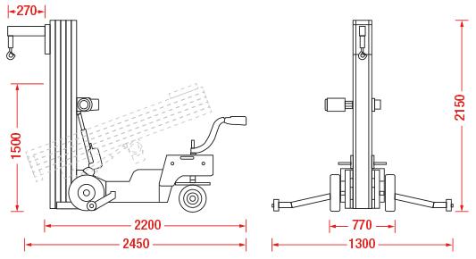 Oscar 250E Glazing Hoist Dimensions