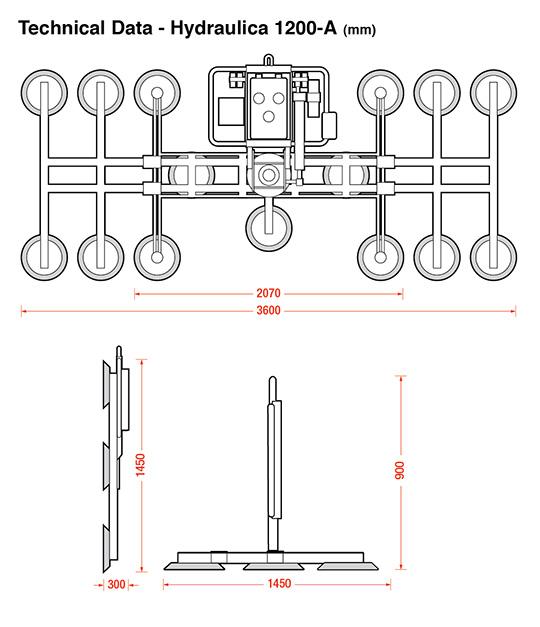 Hydraulica 1200-A dimensions