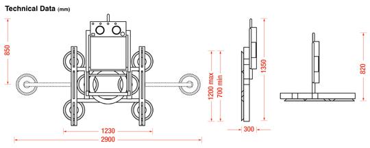 Hydraulica 600 Power Tilt Rotate Dimensions