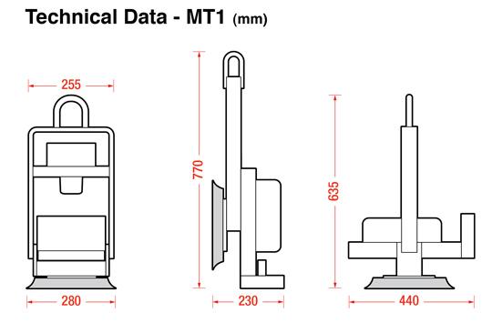 MT1 vacuum lifting dimensions
