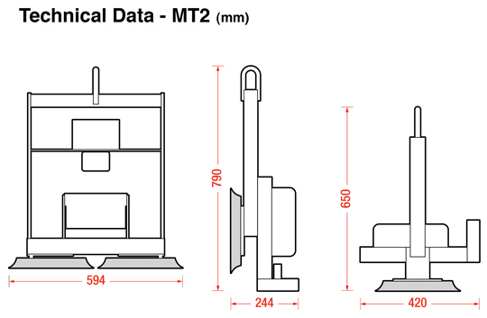 MT2 glass vacuum lifters dimensions
