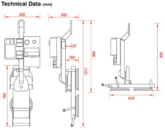 MRT2 Glass Vacuum Lifter dimensions