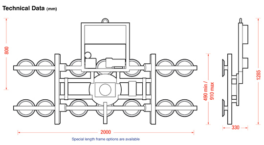 Dimensions of the 7211-DSG curved glass lifter