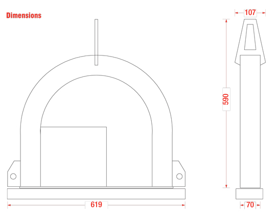 Dimensions of the TS1000 glass lifter