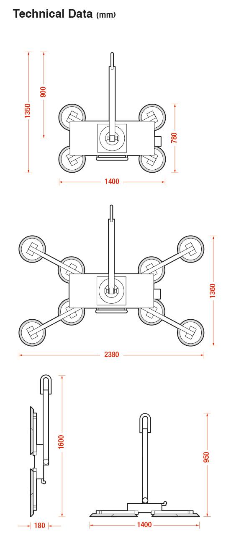DSZ2 Long vacuum lifter dimensions